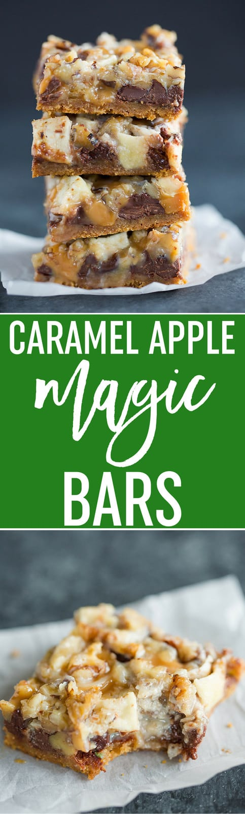 Caramel Apple Magic Bars feature a graham crust, chocolate chips, chopped up caramels, chopped apples, and walnuts. An easy must-make recipe for fall! Sponsored by @eaglebrand. #bars #bardesserts #magicbars #dreambars #sevenlayerbars #fall #baking #recipe #easy #thanksgiving #apples #chocolatechips #caramel #ad