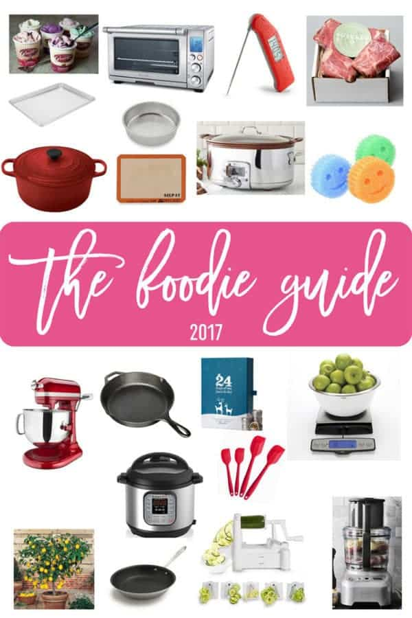 A collage of products for a gift guide geared toward home cooks and bakers.