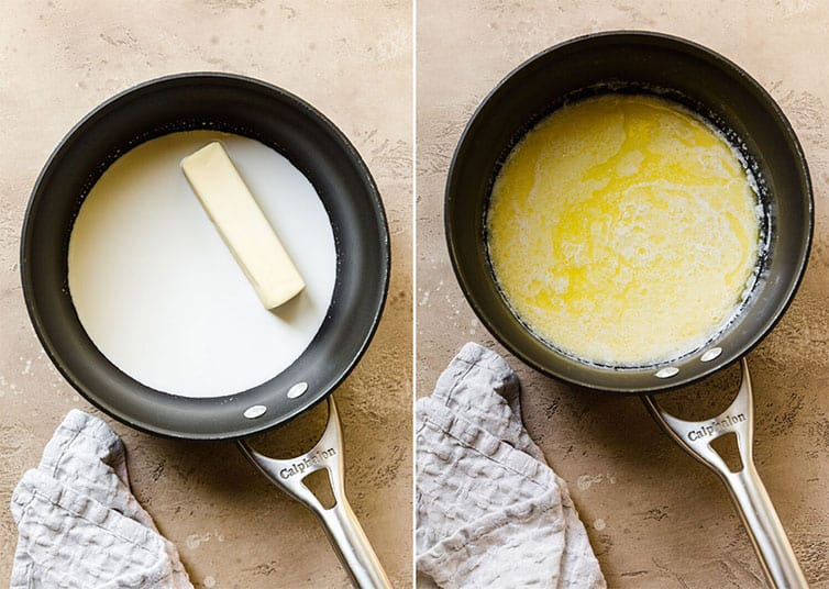 Butter and half-and-half in a saucepan before and after melting.