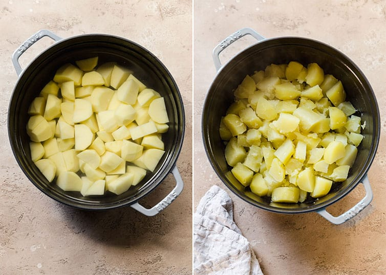 Side by side photos of a pot of cubed potatoes before and after boiling.