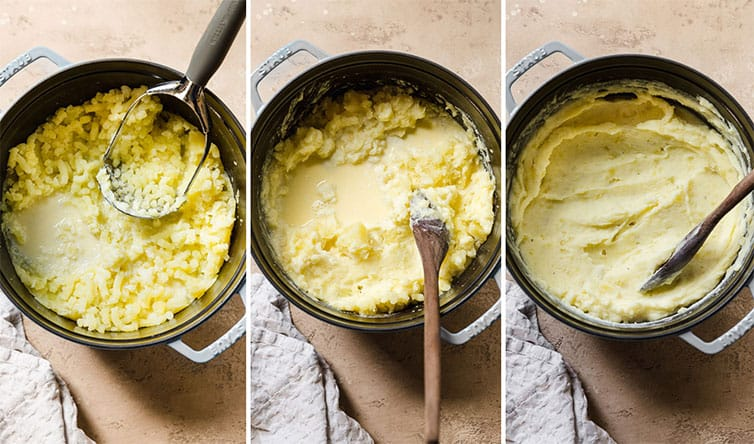 Mashing potatoes in a pot with the half-and-half and butter mixture.