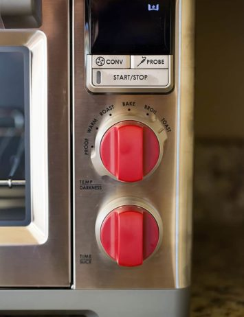A close up view of the knobs and display on Wolf Gourmet Countertop Oven