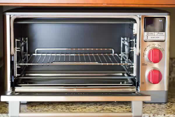 The Wolf Gourmet countertop oven with the door open.
