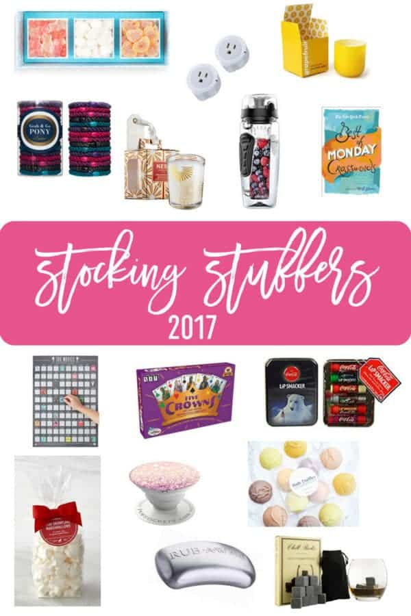 A collage of gifts listed in the stocking stuffers gift guide.