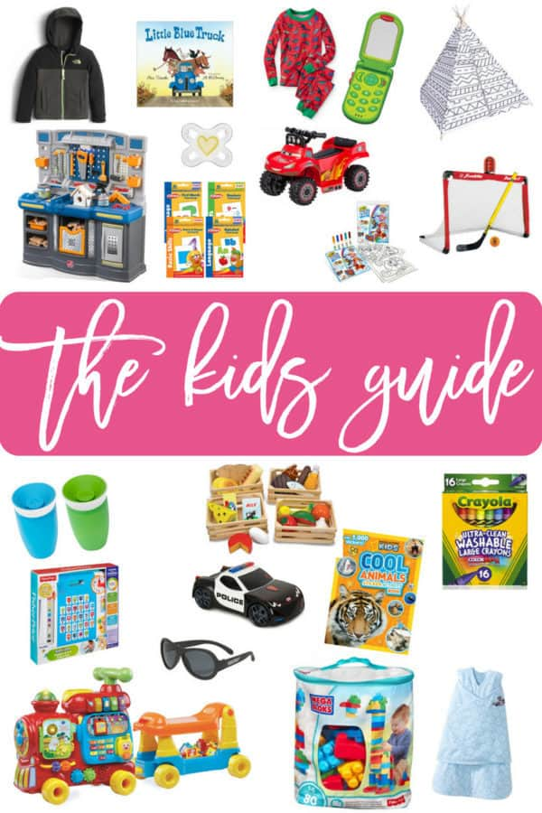 A collage of gift ideas for babies and toddlers.