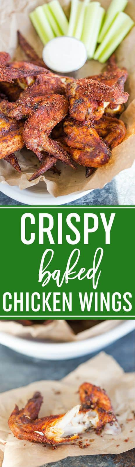 Crispy Baked Chicken Wings :: You'll never believe these chicken wings were baked in the oven! Super easy, crispy skin, and meat that falls off the bone. #recipe #chickenwings #superbowl #appetizers