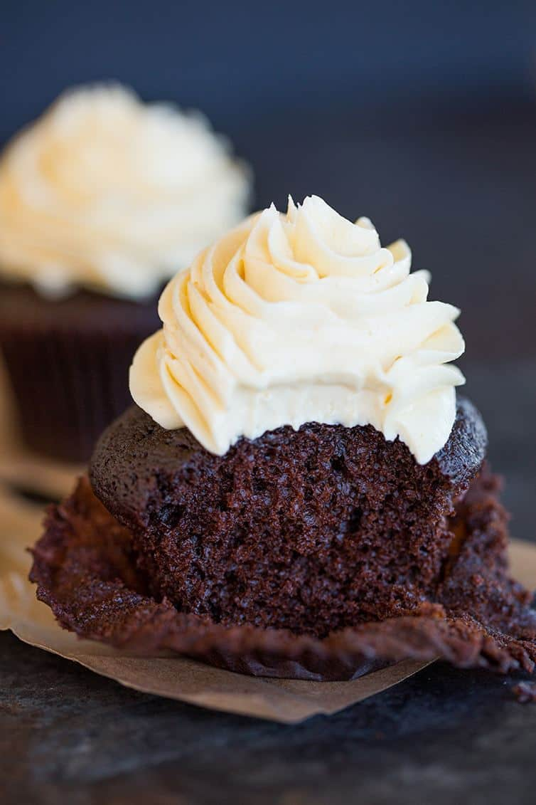 Chocolate Cupcakes with Vanilla Frosting | Brown Eyed Baker