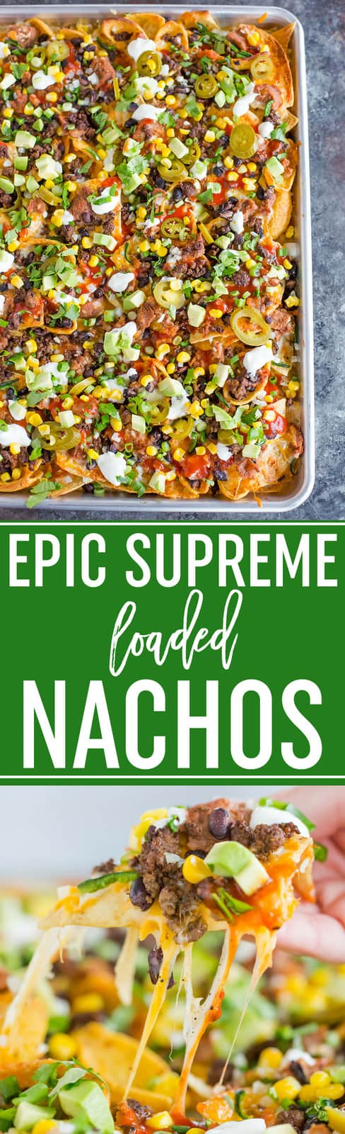 Epic Supreme Loaded Nachos :: The absolute epitome of loaded nachos... a mixture of tortilla and corn chips topped with tons of cheese and all of the best toppings you could imagine! #appetizers #partyfood #footballfood #superbowl #nachos