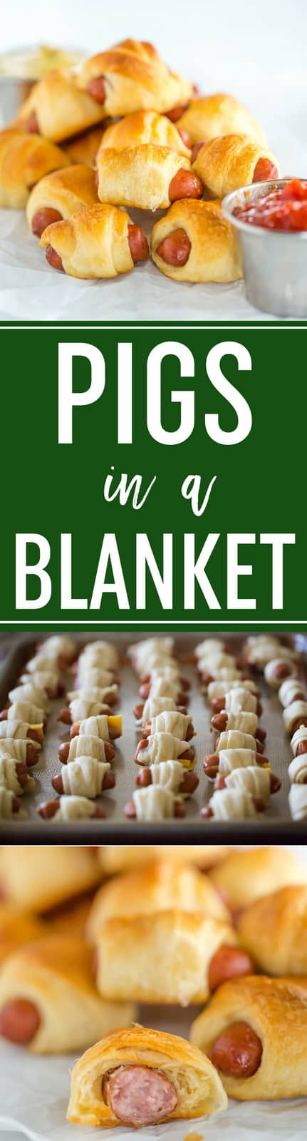 Pigs in a Blanket :: Easy recipe with only two ingredients (three if you want cheese!). Simply wrap mini hot dogs in crescent rolls and bake... Perfect for kids, parties and the Super Bowl! #hotdogs #lilsmokies #crescentdogs #appetizers #snacks #superbowl