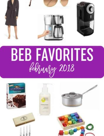 A collage of products included as favorites for February 2018.