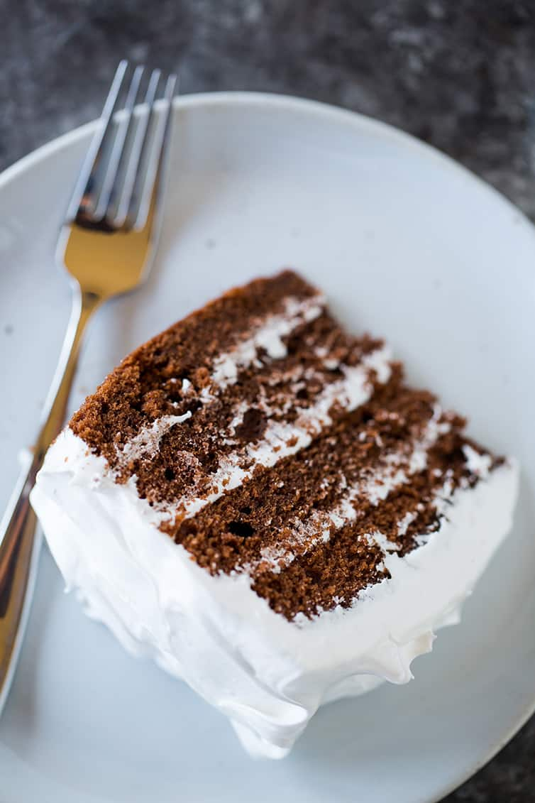 An overhead shot of a slice of devil's food cake.