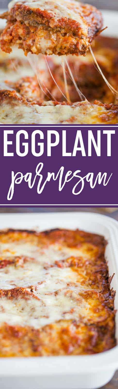 This is the BEST Eggplant Parmesan recipe! With layers of fried eggplant, spaghetti sauce, and loads of cheese, it is always a winner. #dinner #vegetarian #eggplant #italian #casserole