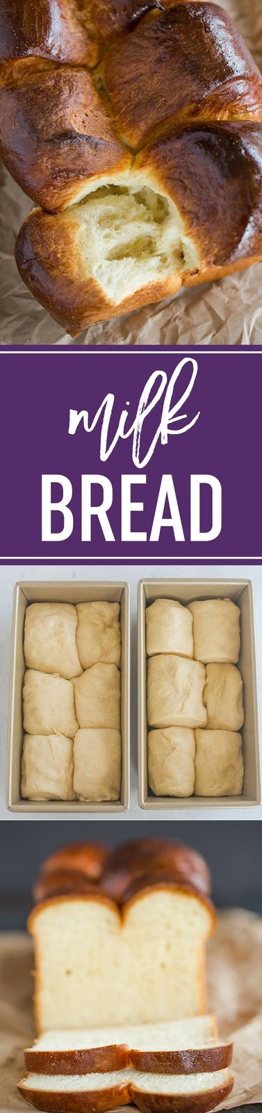 Milk Bread! A fabulous recipe for the iconic soft and fluffy bread that can be made into loaves, pull-apart bread, rolls, or split-top buns. #bread #baking #yeast