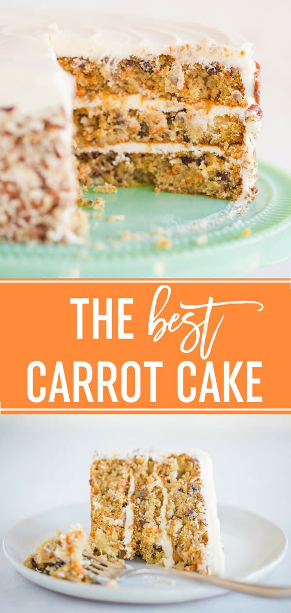 Truly the BEST Carrot Cake Recipe - Made completely from scratch, supremely moist, and packed full of carrots, pineapple, coconut, pecans and raisins. Filled and frosted with a simple cream cheese frosting, this cake is an absolute winner on every level. Make it for Easter, Thanksgiving, or anytime you need a special cake! #recipe #cake #carrotcake #pineapple #carrots #coconut #pecans #raisins #easter #dessert #creamcheesefrosting