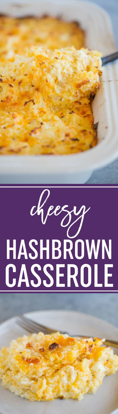 Hashbrown Casserole :: Easy, cheesy, takes only minutes to throw together, and is a favorite side dish for holiday dinners from Easter to Christmas and casual weeknight dinners alike. Total comfort food! #casserole #sidedish #easter #christmas #hashbrowns