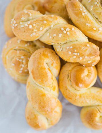 A pile of braided Greek Easter cookies (Koulourakia)