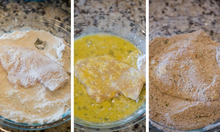 A photo collage showing the breading process: flour, egg and bread crumbs.