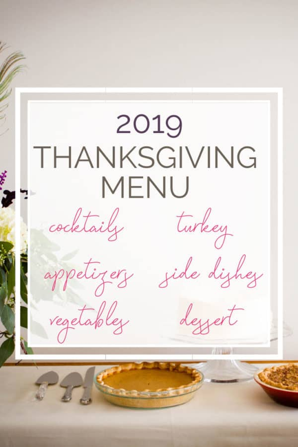 A photo of Thanksgiving dessert table with text overlay.
