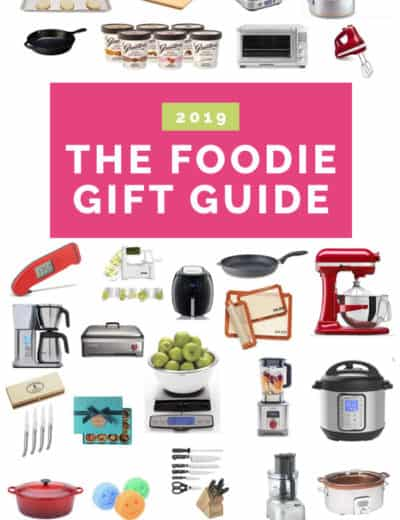 A collage of kitchen-related gift ideas.