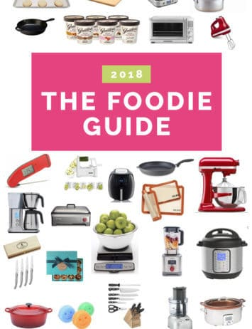 A collage of gifts for foodies, cooks and bakers.