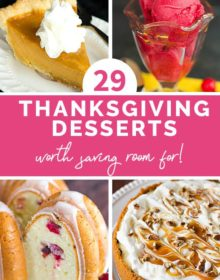 A collage of four Thanksgiving desserts.