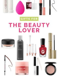 A collage of beauty products suitable for gifts.