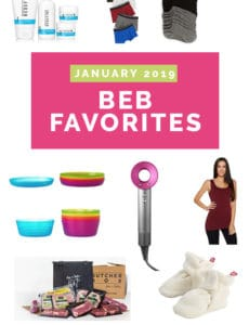 "A collage of products around a header ""January 2019 BEB Favorites"""