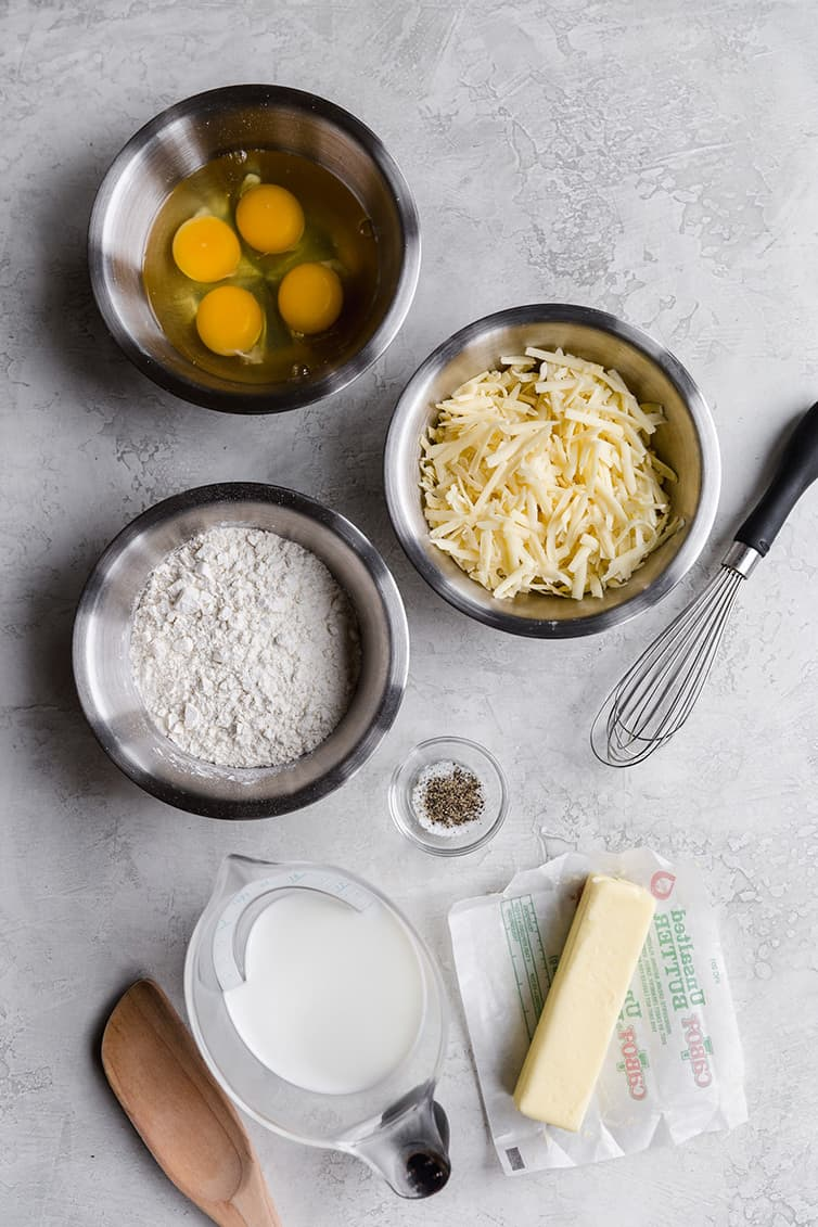 All of the ingredients for gougeres laid out.