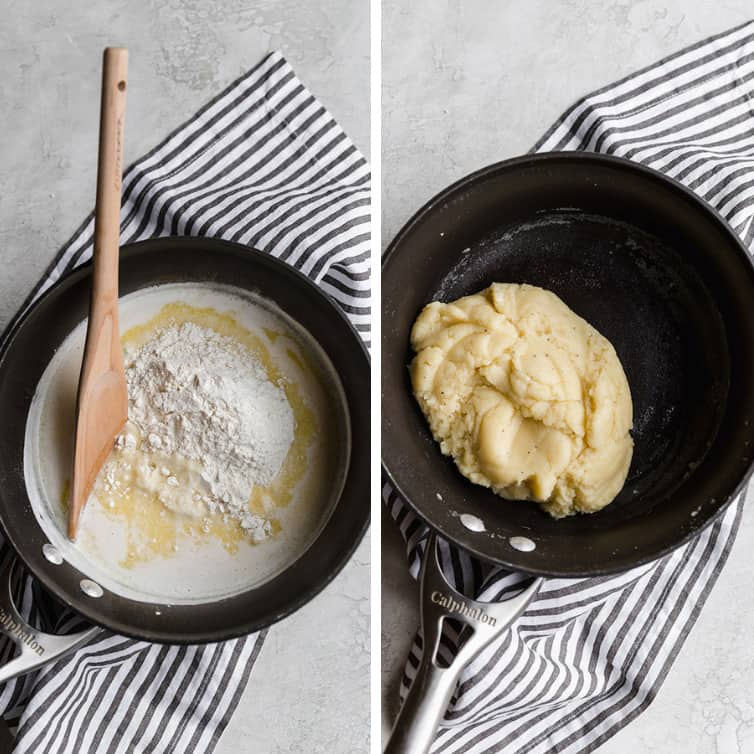 Side-by-side photos of making pate a choux dough in a pot.