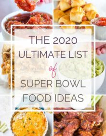 A collage of six different Super Bowl food recipes with text overlay.
