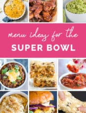A collage of recipe photos for Super Bowl food.