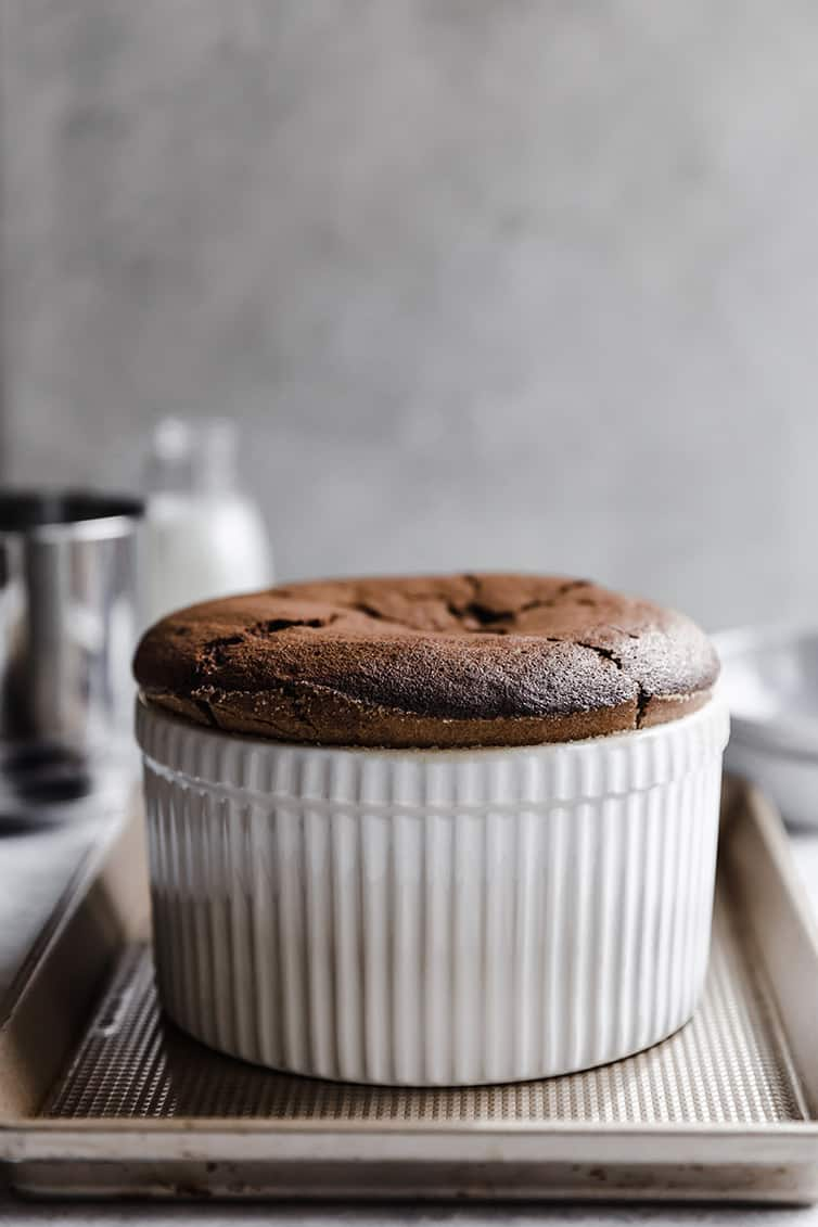 A chocolate souffle immediately after being removed from the oven.