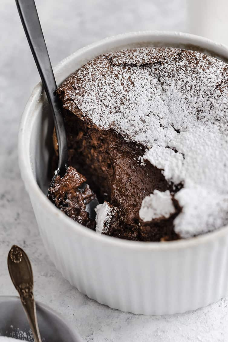 Scooping out chocolate souffle.