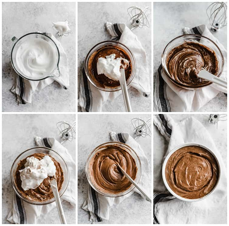 A six photo collage of incorporating egg whites into a souffle batter.