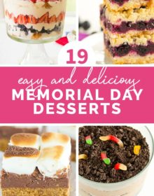A collage of four photos featuring Memorial Day desserts.