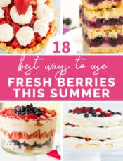 A collage of four desserts using fresh berries with text in the middle.