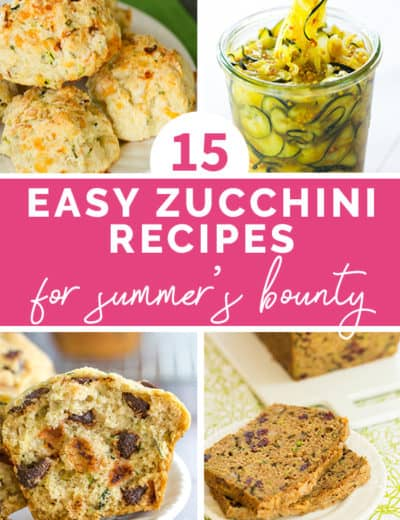 Collage of four photos of zucchini recipes.