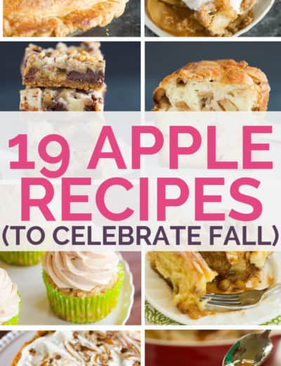 A collage of apple recipes with text overlay.