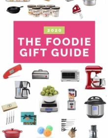 """Collage of kitchen products with the text """"2020 The Foodie Gift Guide"""""""