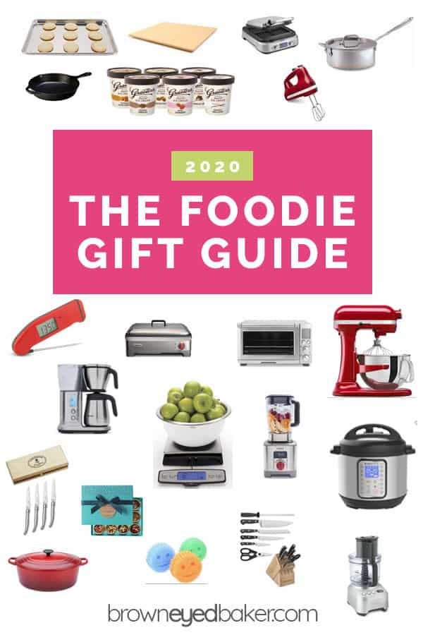 "Collage of kitchen products with the text ""2020 The Foodie Gift Guide"""