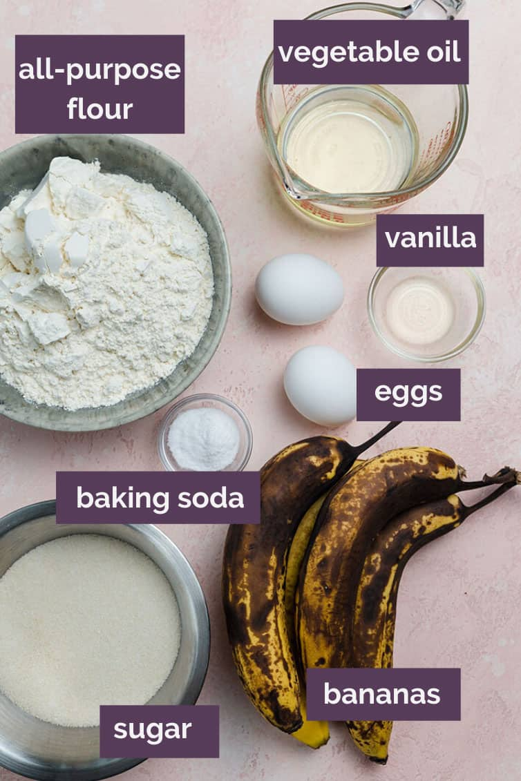 A photo of labeled ingredients for banana nut bread.