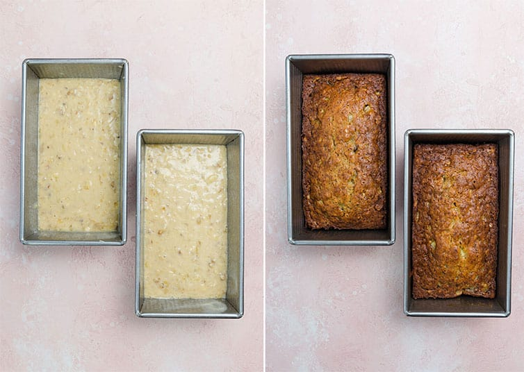 Side by side photos of banana bread batter and baked loaves.