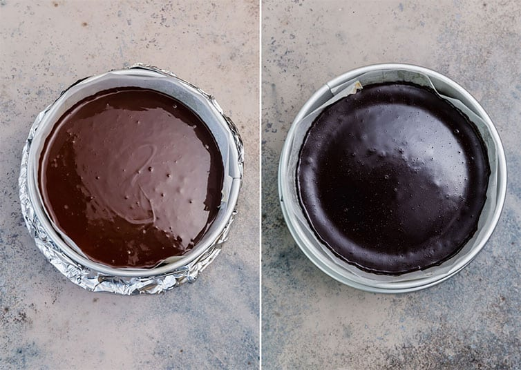 Flourless chocolate cake batter in a prepared springform pan before and after baking.