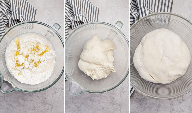 A photo collage of Italian bread dough being mixed together, then risen.