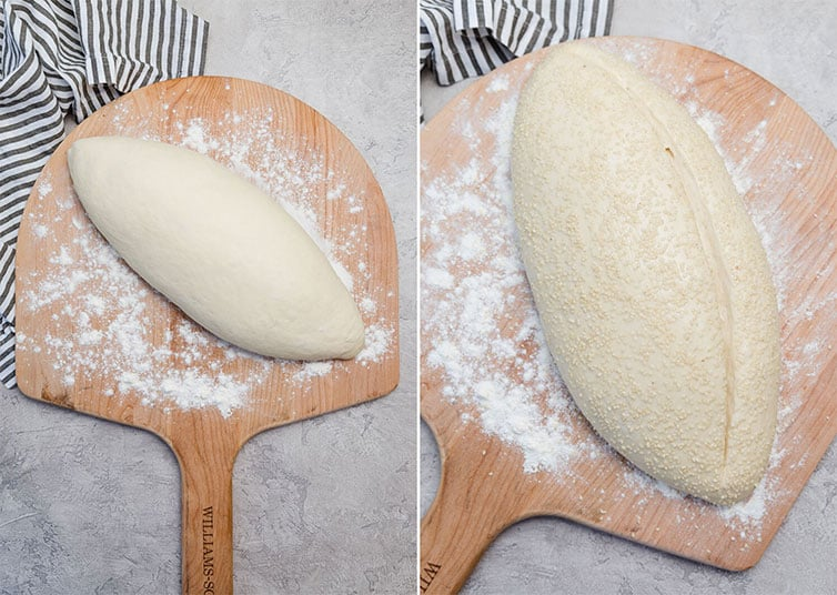 Side by side photos of Italian bread dough shaped into a loaf, before and after rising.