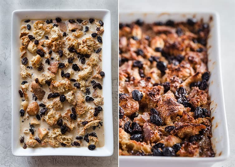 Side by side photos of bread pudding in the pan before and after baking.