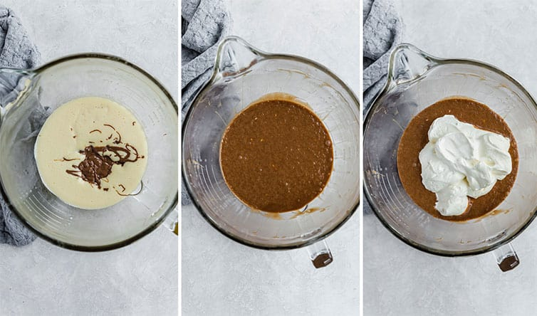 Step by step photos for making the filling of French silk pie.