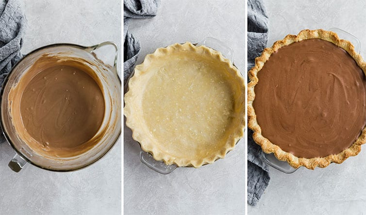 Three photos of filling the pie shell for French silk pie.