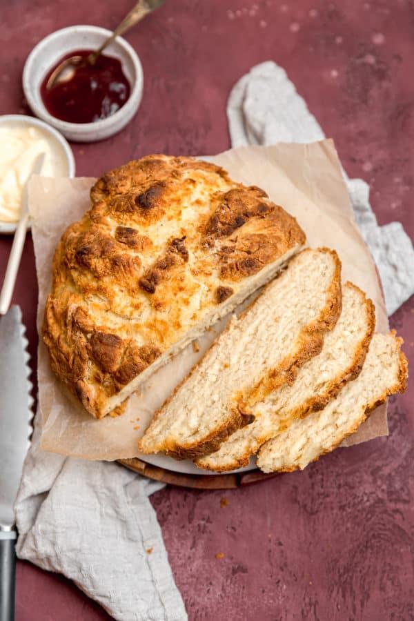 A loaf of Irish soda bread sliced.