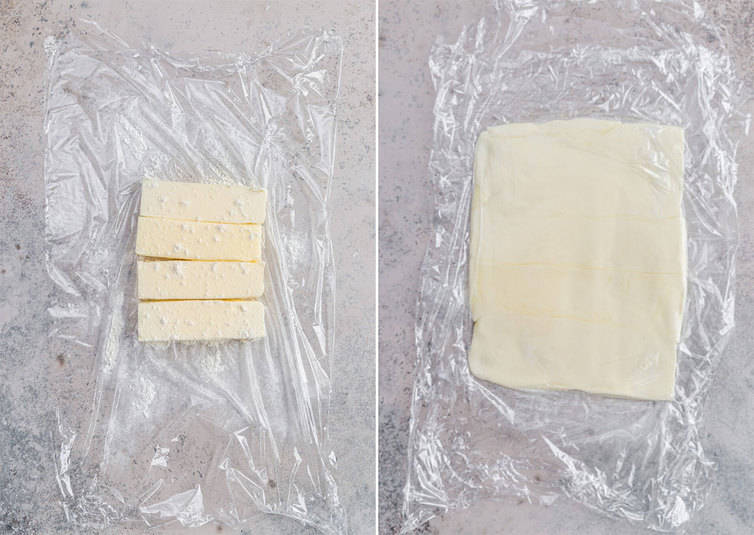 Side by side photos of a butter block being rolled out.